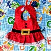 Bavaglino vestitino BABBO NATALE bambina, bavaglini impermeabili, personalizzati, regalo originale per il bebé