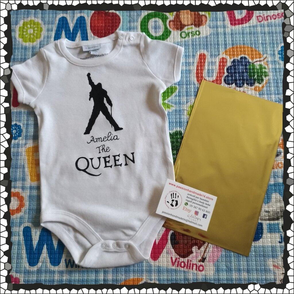 THE QUEEN, Freddie Mercury body bebe, dipinto a mano, body personalizzati, vestiti neonato, tutte le taglie