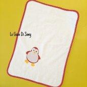 Asciugamano in spugna con pinguino colorato