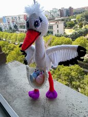 The stork the PURPLE LEGS § La cicogna il GAMBETTE VIOLA § Hand Knitted Toys