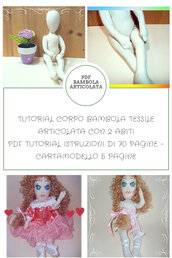 Tutorial e Cartamodello bambola artigianale tessile articolata in Pdf.