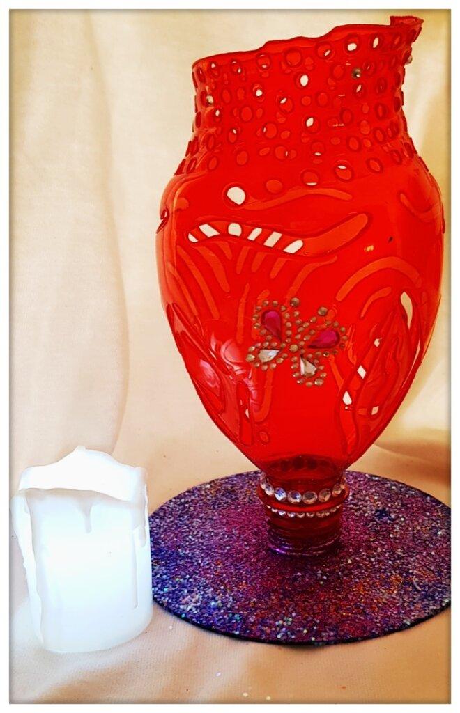 Porta candela led rosso