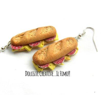 Orecchini panino - sfilatino - salame e formaggio - idea regalo handmade - miniature in fimo