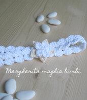Fascia/fascetta bambina - bianca con fiore bianco e panna - Battesimo - prima Comunione