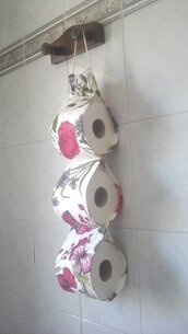 Porta rotoli Carta igienica di stoffa, portarotolo cartaigienica di stoffa fatto a mano in bianco e fucsia