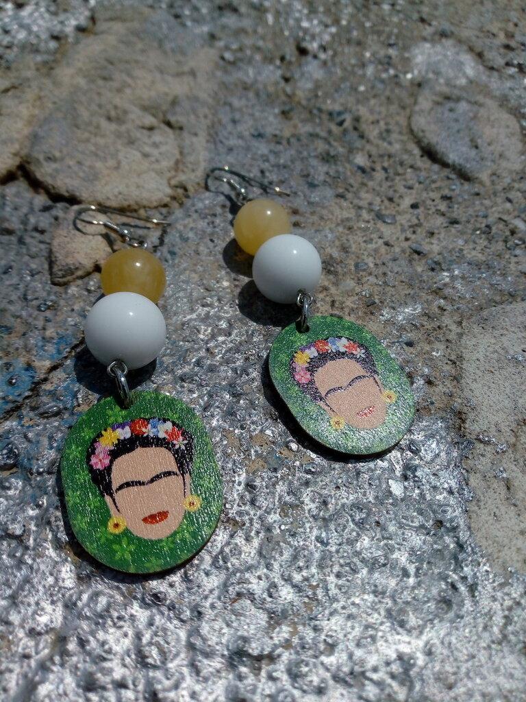 Orecchini Frida khalo agata e giada