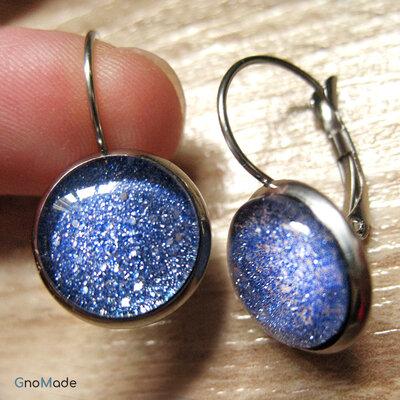 ORECCHINI BASIC A MONACHELLA 5 - glitter azzurro + acciaio nichel free
