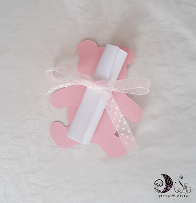 Invito, ricordo nascita, segnaposto orsetto pergamena personalizzabile
