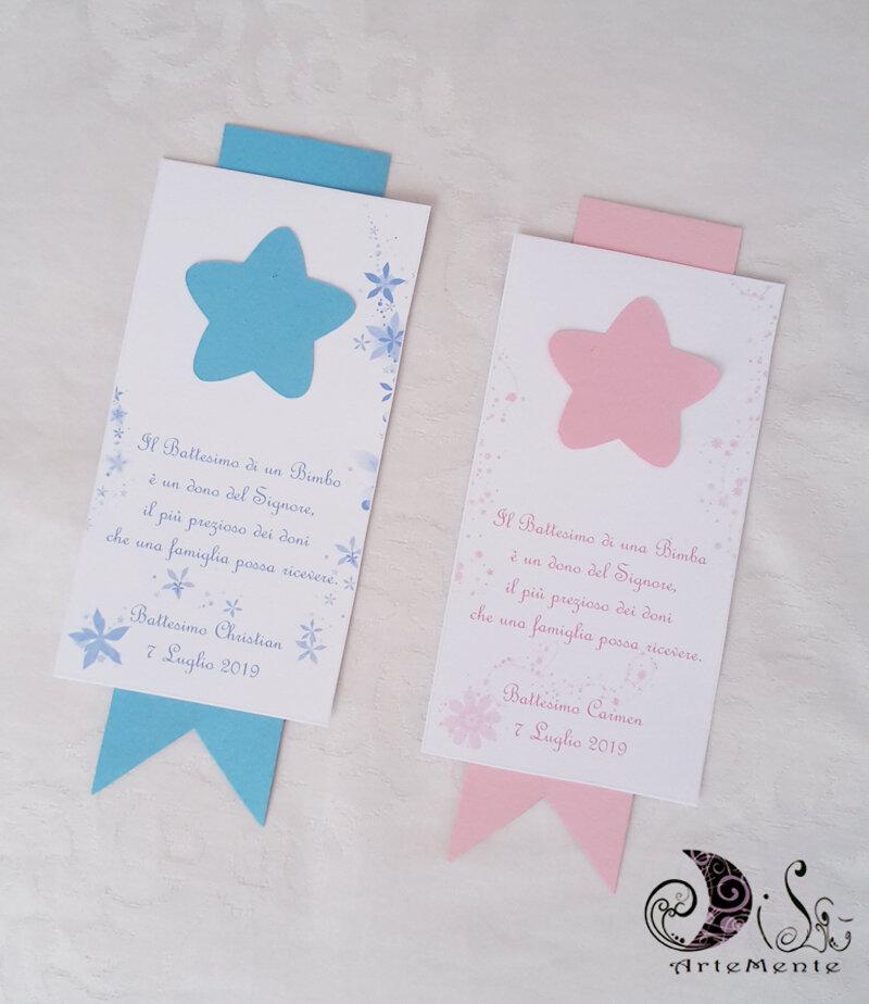 etichette segnaposto bimba e bimbo con stella personalizzabili