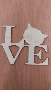Targhetta gatto Love 25 x30 cm