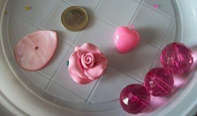 6 perle plastica e fimo