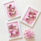Quadretto con lettera in legno e rose