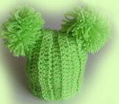 Cappellino bimba bimbo uncinetto, fatto a mano, cappellino con doppio pompom, berretto