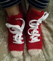 Calze da notte unisex, babbucce, pantofole, scarpe, sneakers, converse, uncinetto