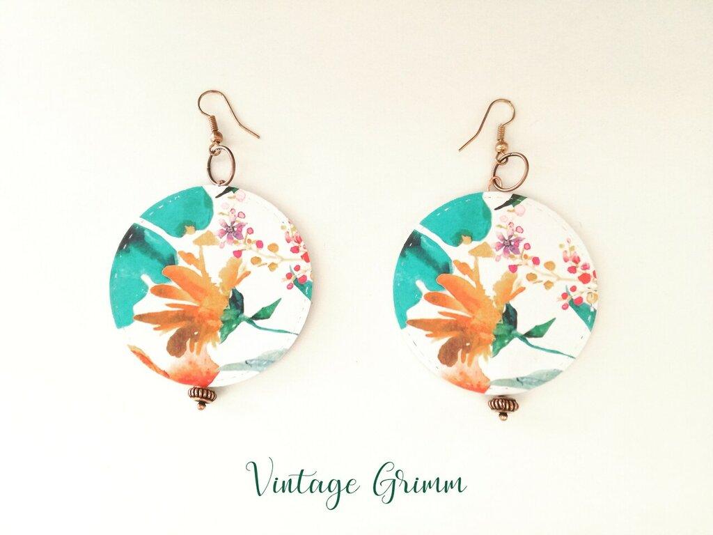 Paper earrings flower fusion