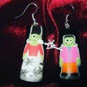 Miss and Mr Frankenstein earrings orecchini