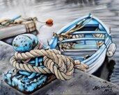 Dipinto marina barca Olio su tela 40x50 idea regalo napoli quadro moderno quadri moderni arte pittura paesaggio
