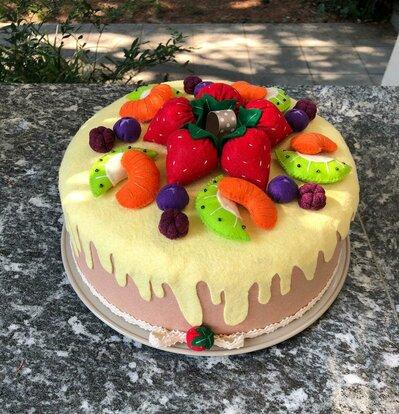 Copritorta decorato, torta di frutta