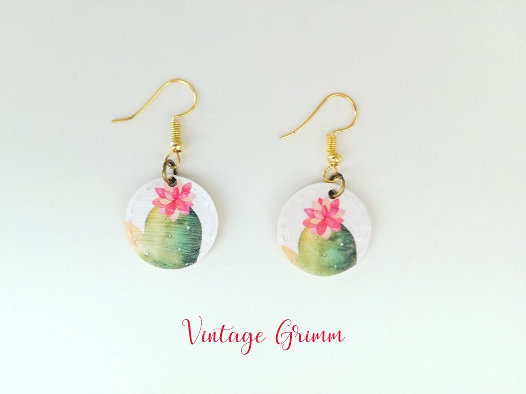 Paper earrings pink cactus