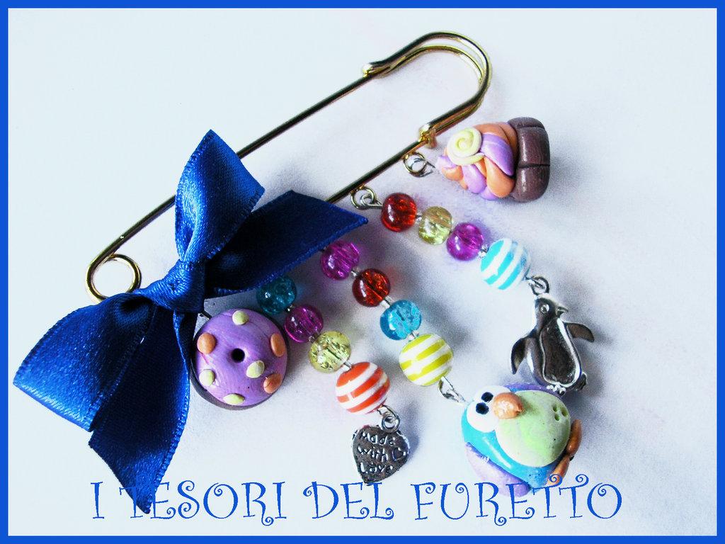SPilla fimo cernit charm matrioska dolcetti pinguino idea regalo