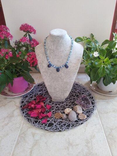 """COLLANA girocollo in pietra e minerali  """" Dea Angelica"""""""