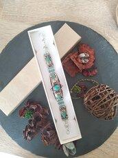 Bracciale in argento 925 tibetano con minerale turchese