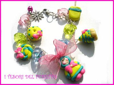 Bracciale  fimo cernit idea regalo ooak 5 FUFUFREDDOLOSO eschimese dolcetti gelati
