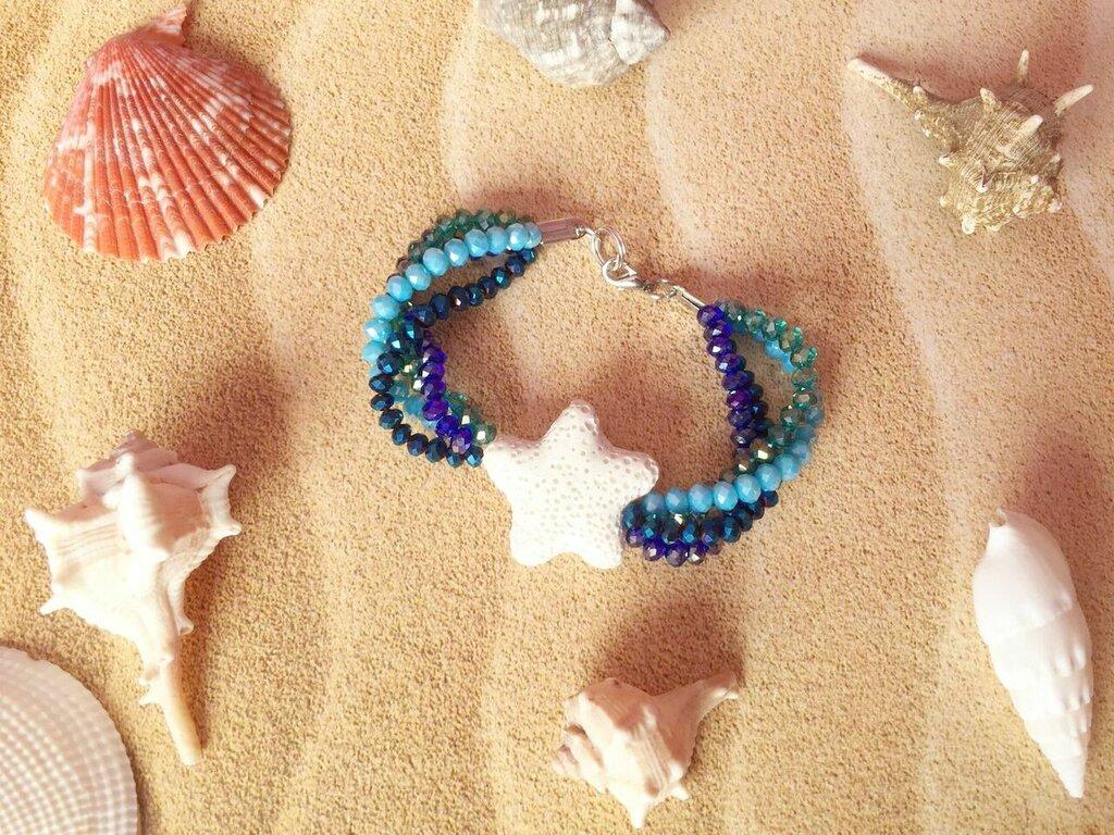 Bracciale per l'estate con cristalli e stella marina
