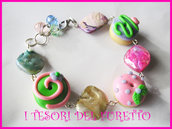 Bracciale fimo cernit ciambelle donut dolcetti rosa maxi perle charm
