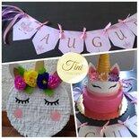 Kit compleanno pignatta torta finta bandiere Unicornio lol surprise