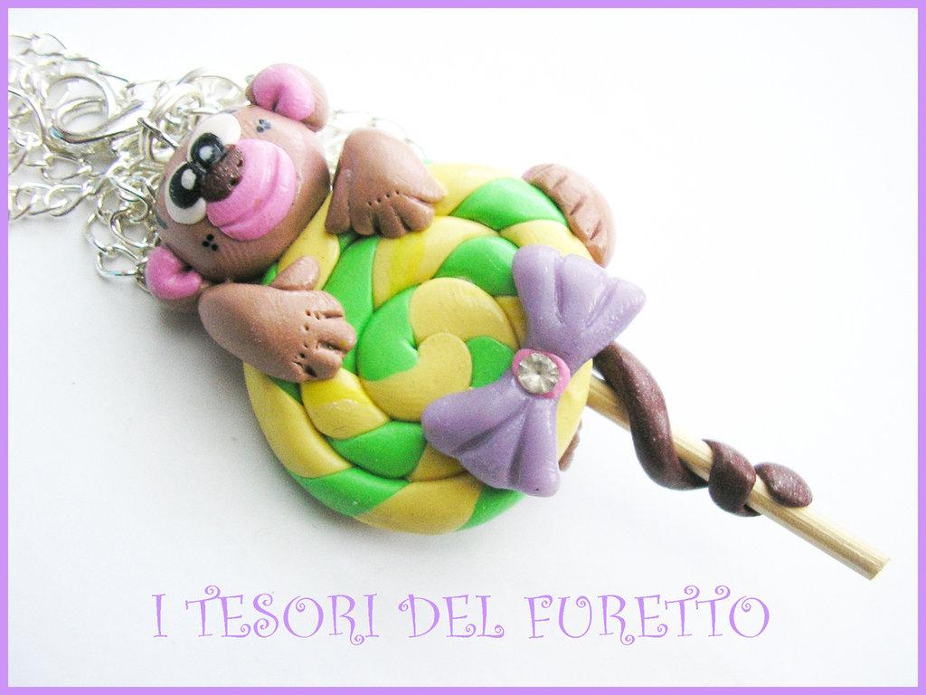 collana fimo scimmietta lollipop dolcetto moda estate catena