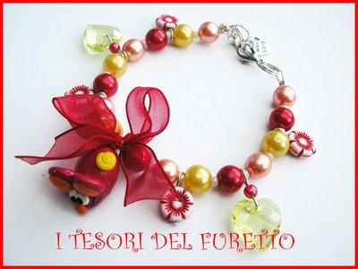 Bracciale topino rosso idea regalo fiori perle primavera
