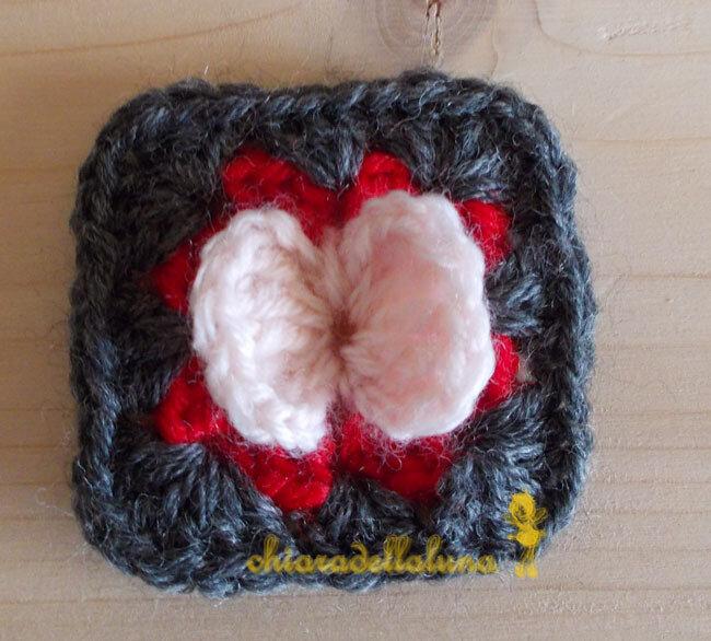 Granny square, applicazione uncinetto, quadrato della nonna, piastrella lana, set 5 pz., farfalla