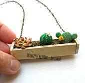 Collana Piante grasse - Vaso piante grasse - accessori vistosi in fimo e cernit - idea regalo ragazza, amica, botanica - pollice verde