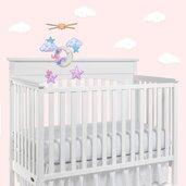 Giostrina neonata elefante sulla luna/Giostrina culla elefante rosa/Giostrina feltro elefante rosa/decoro cameretta neonata/Regalo neonata