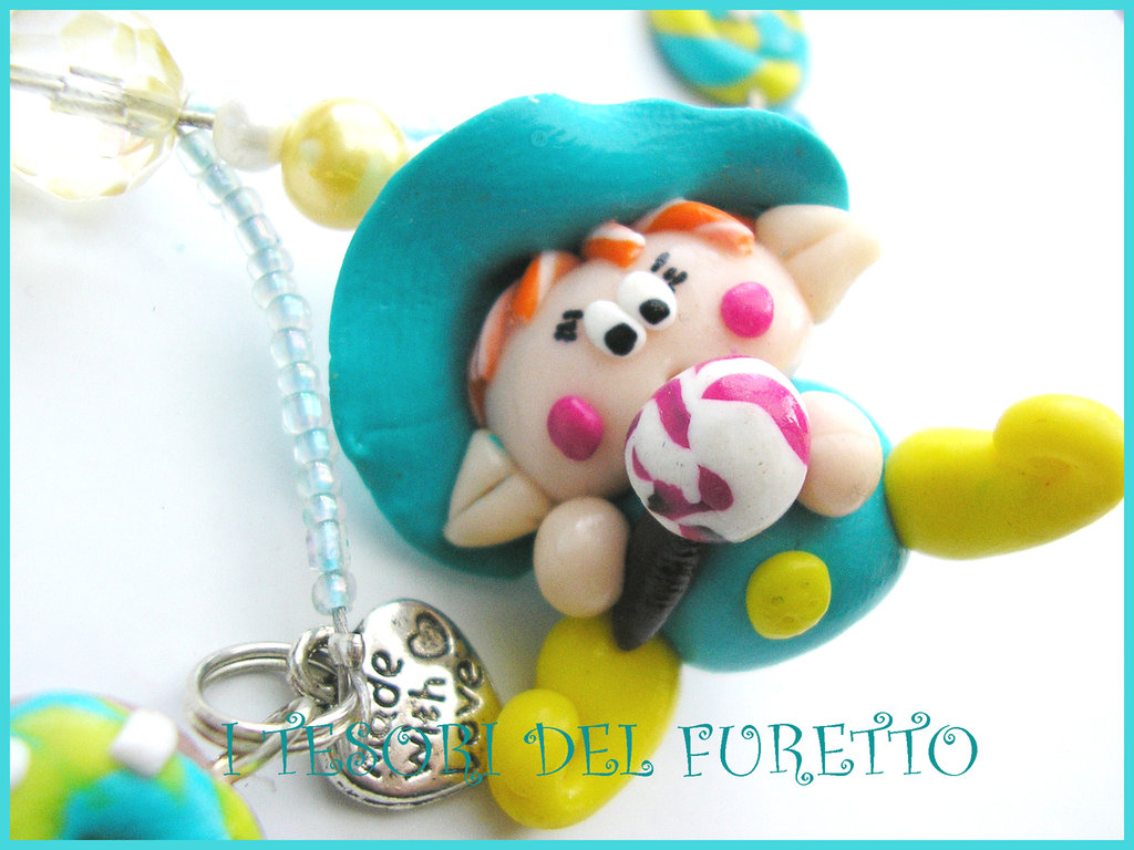 collana folletto fimo cernit perle necklace helf elfetto