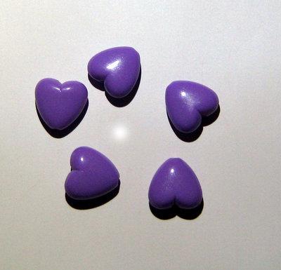 5x CUORE PLASTICA VIOLA bead