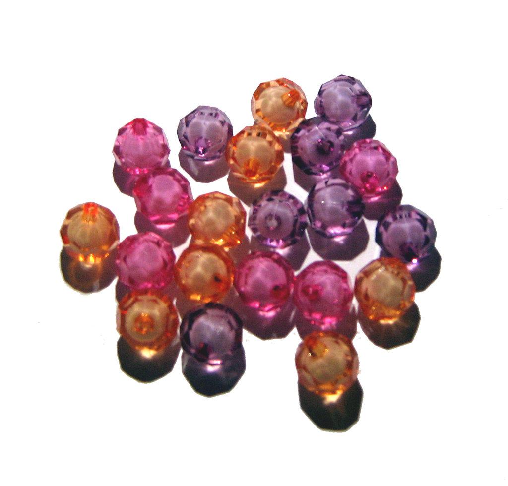 5x perla bead sfaccettata con interno bianco - SCEGLI I COLORI