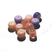 10x PERLE LUCITE A RIGHE striped beads rosa e viola