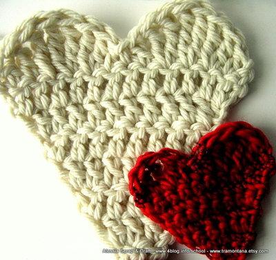 Spiegazione Pattern Cuori a Crochet Uncinetto come applicazioni e toppe