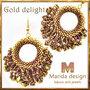 Orecchini in tessitura di perline ad anello con frange color oro-bronzo - fatti a mano