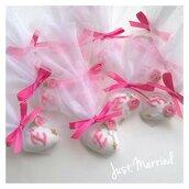 segnaposto prima comunione, cresima, confetti decorati, rosa con rosario