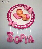 Fiocco nascita Sofia, dolce  bambina e farfalle.