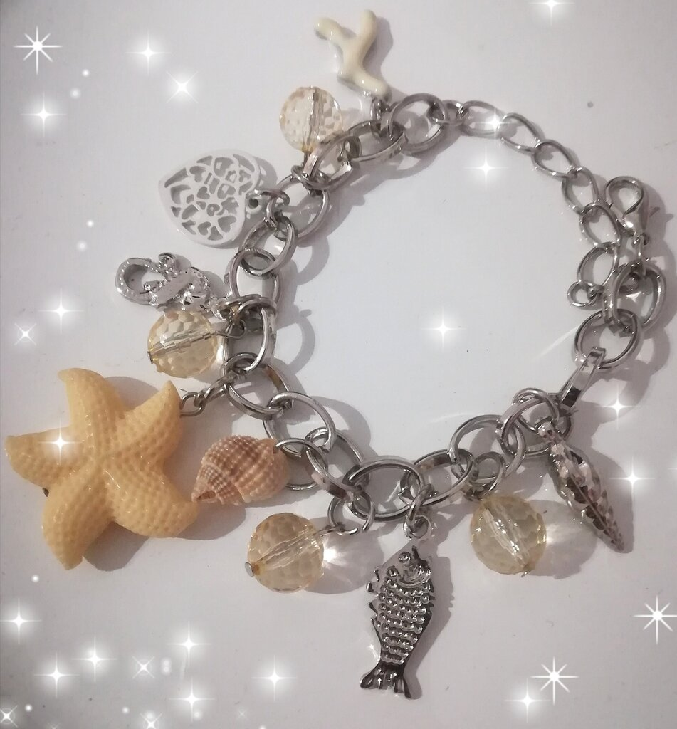 Braccialetto pendenti stella marina, pesce, conchiglie Idea regalo mamma donna nonna