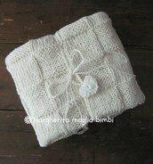 Copertina neonato/coperta baby - lino e cotone - fatta a mano - Battesimo - culla