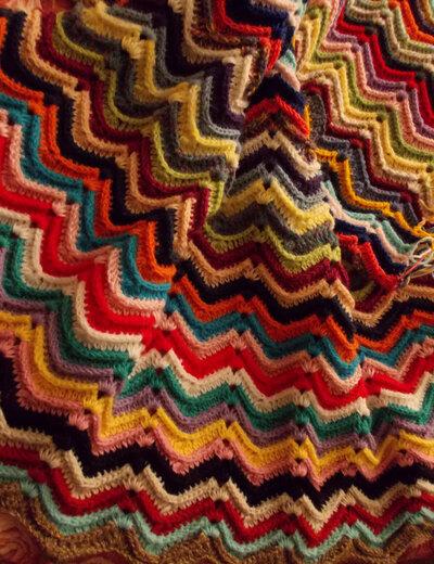 Coperta uncinetto, plaid, granny square, crochet, coperta in lana, chevron