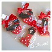 biscotti decorati primo compleanno a tema Minnie rosso
