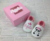 Scarpine ecopelle Panda personalizzate con nome - Suola antiscivolo!