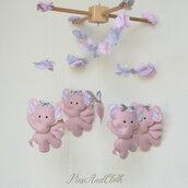 Giostrina elefantini rosa/giostrina culla elefantini feltro/Giostrina da appendere elefantini rosa