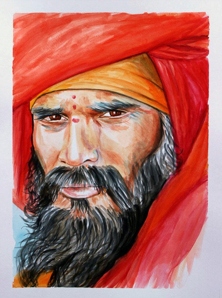 Acquerello santone indiano dipinto a mano